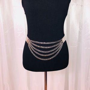 Bebe Silver chain belt.